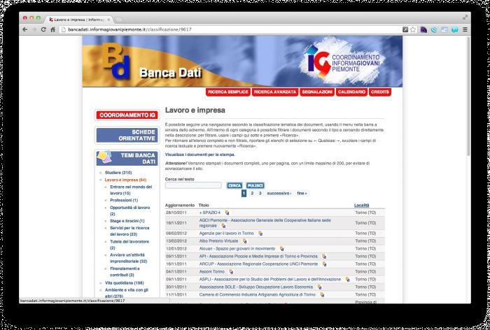 Banca Dati Informagiovani Piemonte